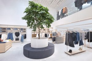 A mezzanine level, with overlooks the main floor, is dedicated to menswear - a first for the brand.