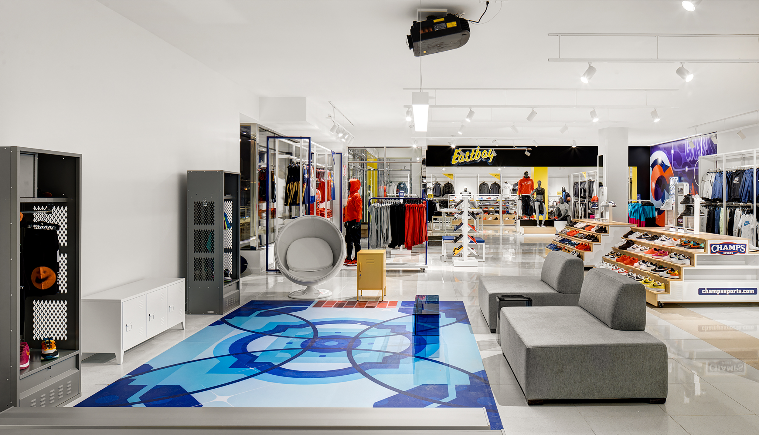 Encompassing 21,000 square feet, this new outpost houses Footlocker's Eastbay brand's first physical experience.