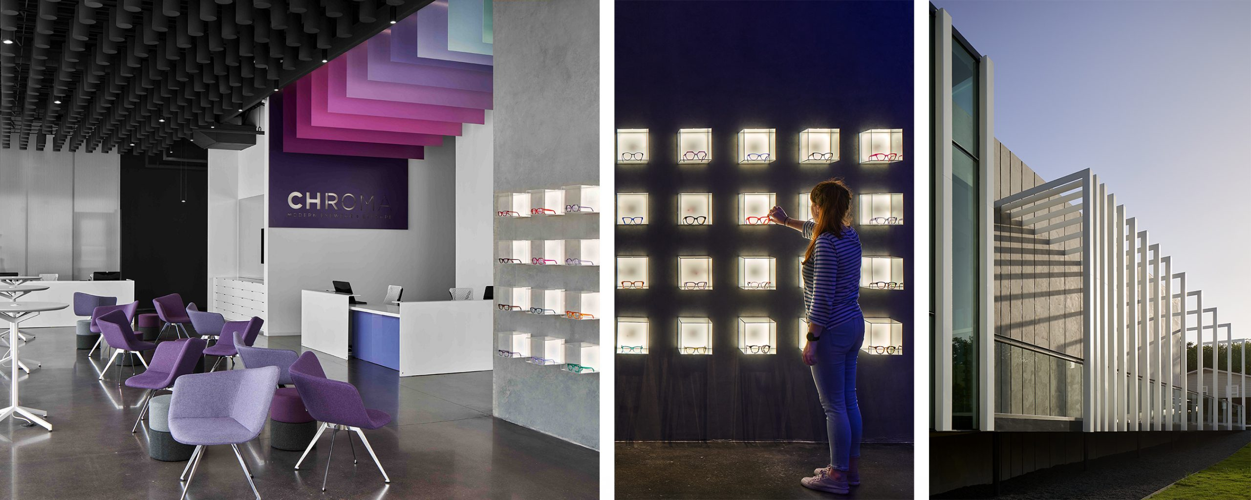 Using a minimalist aesthetic, Chroma Modern found unique ways to display eyewear, often a difficult product to merchandise.