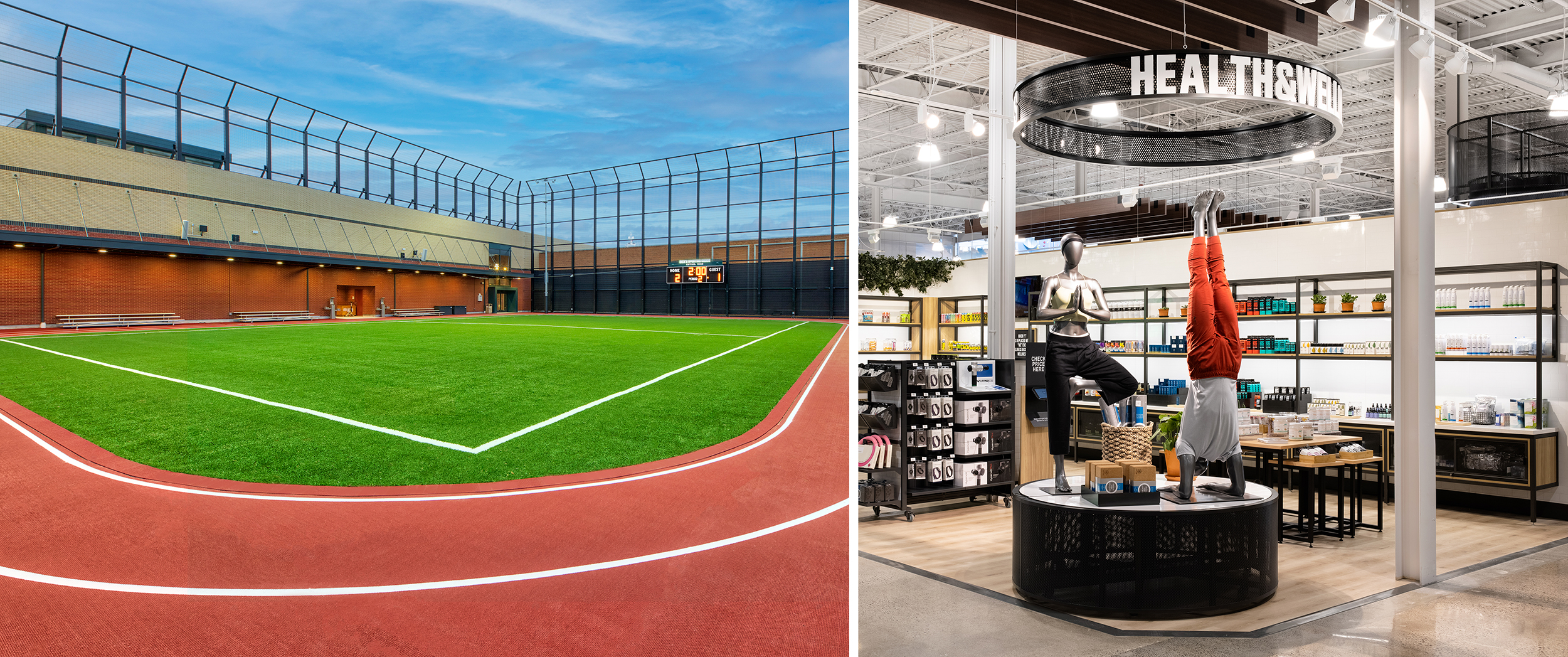 An outdoor turf field and in-store health and wellness area support athletes' fitness goals from start to finish.