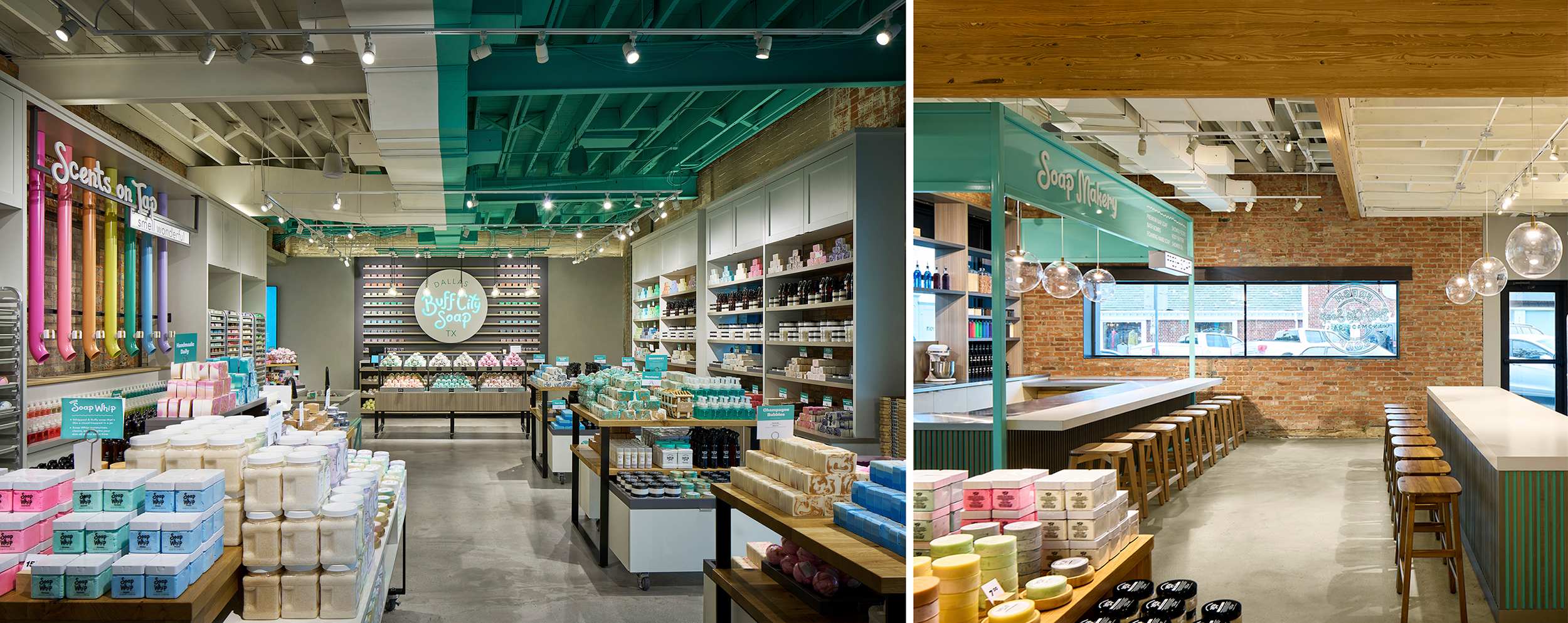 """The brand's """"Tokyo green"""" color is seen at experiential/interactive touchpoints throughout the space."""