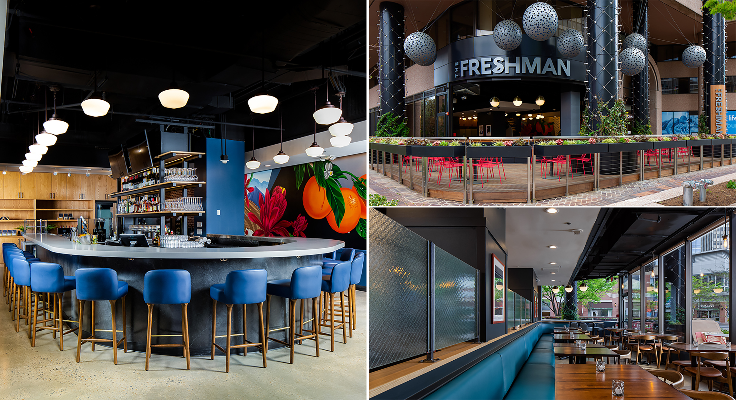 The Freshman uses materials along with specific circulation paths to transform from a morning coffee stop to an evening dining destination. 📷: Joseph Tran, Washington, D.C.